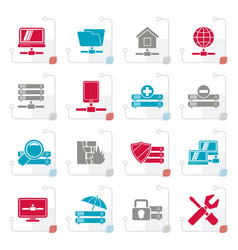 stylized server hosting and internet icons vector image