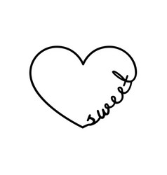 sweet - calligraphy word with hand drawn heart vector image