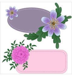 Tags with garden flowers vector image