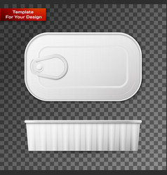 tin can with ring pull side top and bottom vector image