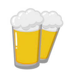two beer glasses beverages vector image