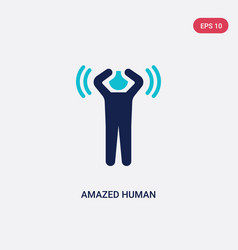 Two color amazed human icon from feelings concept vector
