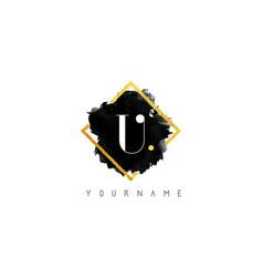 U letter logo design with black stroke and golden vector