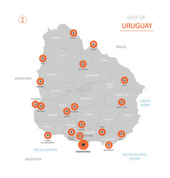 uruguay map with administrative divisions vector image