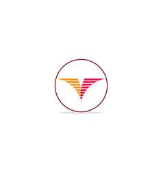 V initial line company logo vector