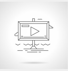 Video advertising flat line icon vector