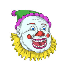 Vintage circus clown smiling drawing vector