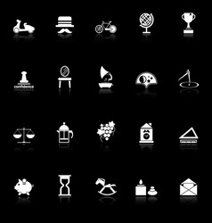 Vintage item icons with reflect on black vector