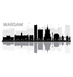 Warsaw city skyline black and white silhouette vector