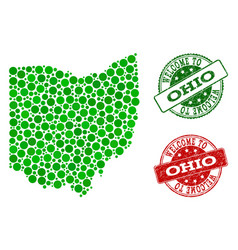 Welcome composition of map of ohio state and vector