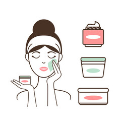 Woman applies fresh organic creams on her face vector