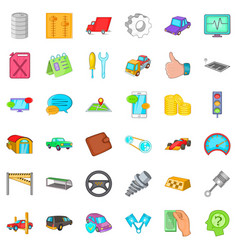 Working car icons set cartoon style vector