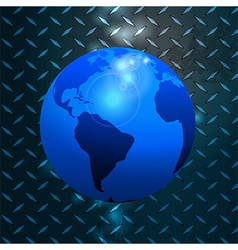 World globe over metallic diamond plate vector