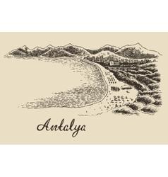 Antalya skyline vintage engraved hand drawn vector image vector image