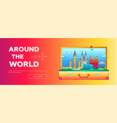 around the world - line travel web page vector image
