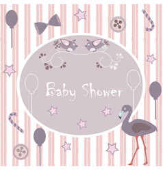 baby shower invitation card design with flamingo vector image