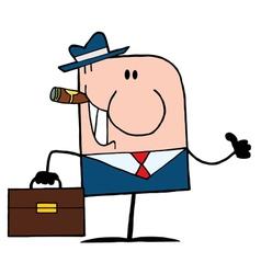 Cigar Smoking Thumbs Up Caucasian Businessman vector image vector image