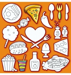 doodle set of food vector image vector image