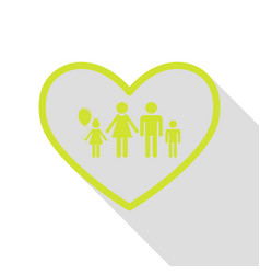 family sign in heart shape pear icon vector image vector image