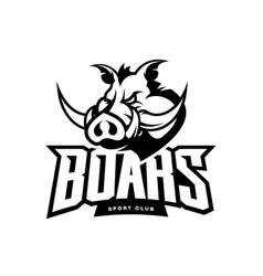 furious boar sport club mono logo concept vector image