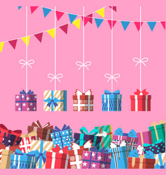 happy birthday banner with colorful gift box vector image vector image