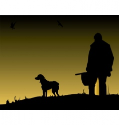 hunter and dog vector image