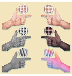 pointing hands set vector image
