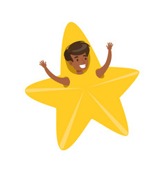 smiling little boy dressed as an yellow star vector image