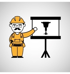 construction man jackhammer icon graphic vector image vector image