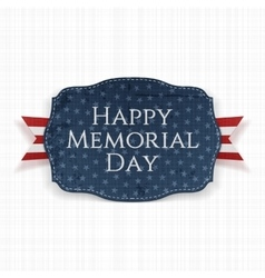 Happy Memorial Day festive Sign and Ribbon vector image