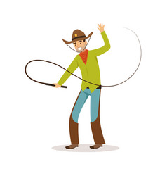 man in american traditional costume with whip vector image vector image