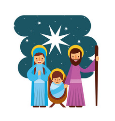merry christmas manger mary joseph family vector image