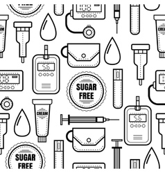 Seamless pattern Diabetes Medical colored flat vector image vector image