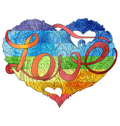 sketchy doodle rainbow heart vector image vector image