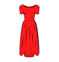 womens red dress icon cartoon vector image