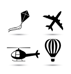 Airplane helicopter air balloon and kite vector image