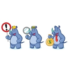 Blue Rhino Mascot with money vector image