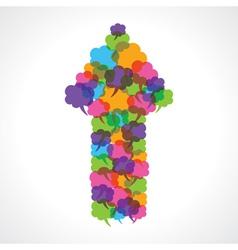 Creative arrow design of colorful message bubble vector image