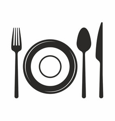 fork knife spoon and plate icon vector image vector image