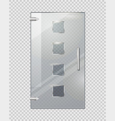 glass door with squares on transparent background vector image vector image