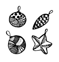 Set of doodle hand drawn Christmas balls vector image