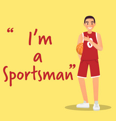 sportsman character with basketball on yellow vector image
