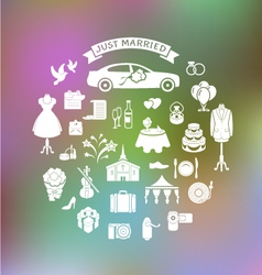 Wedding Icons on Blurred Background vector image