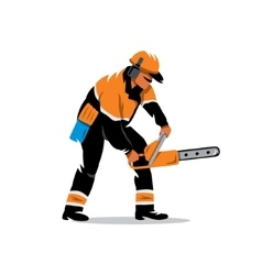 Woodcutter with chainsaw Cartoon vector image
