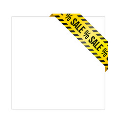 Yellow caution tape with words sale vector