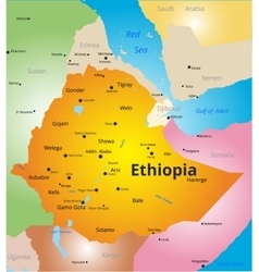 color map of Ethiopia vector image