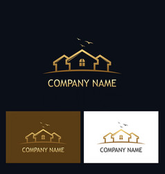 gold house realty logo vector image