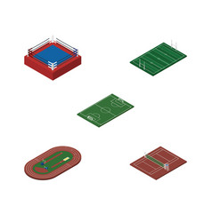 Isometric lifestyle set of fighting soccer vector