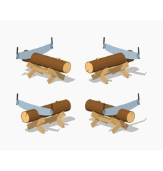 Low poly work bench with the log and handsaw vector image vector image