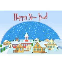 Merry Christmas card cute little town in vector image vector image